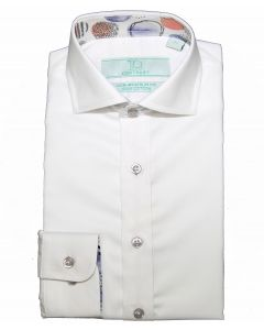 T.O. COLLECTION Boys Slim Fit Long Sleeve Contrast Cotton Non Iron Dress Shirt 3