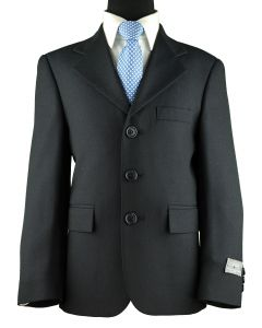 CALVIN Boys Classic Fit 35% Wool Navy Suit - Pleated Pants