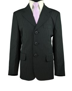 CRIVELLI Boys Classic Fit Navy Pinstripe Suit - Pleated Pants