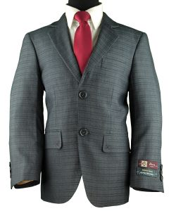 HENRY UOMO Boys Classic Fit Blue Check Suit