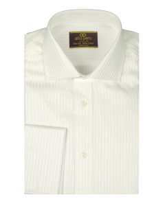 ALFA PERRY Mens White on White Slim Fit French Cuff Dress Shirt 100% Cotton