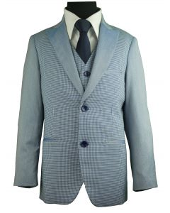 AMERICAN EXCHANGE Boys Two Tone Blue Gingham 3 Piece Suit